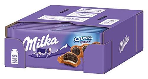Milka Oreo Sandwich - Zartschmelzende Milka Alpenmilchschokolade mit knusprigen Oreo Keksen - 15 x 92g (Oreo-schokolade)