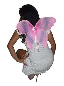 Flügel für Schmetterlingskostüm, Elfenkostüm oder Feenkostüm und andere Faschingskostüme, Einheitsgröße sowohl für Kinder ab 92 als auch Erwachsen bis 160, EL04 pink-lila