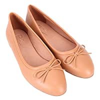 Pinpochyaw Ballet Flats for Women Slip On Flat Leather Shoes with Bows(9 B(M) US, Beige)