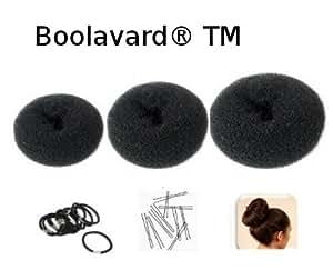 """Lot de 3 Couronnes pour Chignon """"Donut"""" Noir - Nouveaux Formats: 1 petit (diamètre 6cm) + 1 moyen (8cm) + 1 grand (10cm)+ 10 élastiques noirs + 10 épingles à chignon de Boolavard ® TM"""