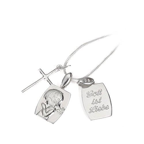 925 Silber Taufschmuck mit Gravur Kinderkette & Kreuzanhänger & Mädchen-Medaillon & Gechenkbox #745