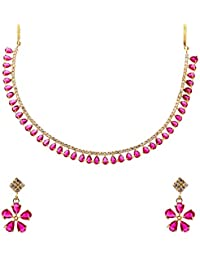 351e11dc7c Zeneme Gold Plated American Diamond Necklace with Earrings for Women & Girls