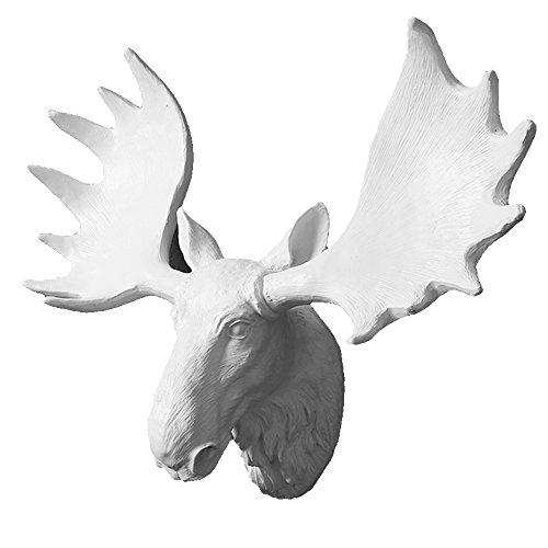 WSZYD Schafmilch Kopf Wanddekoration aufhängen Geweih Hirsch Kopf Wand hängenden Vintage europäischen kreative Tier Wand Dekorationen 44*17*32(cm),Weißer Elch