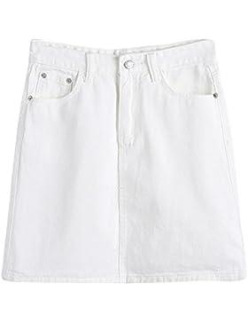 Mujeres Color Puro Casual Minifaldas Cintura Alta Corta Falda De Mezclilla