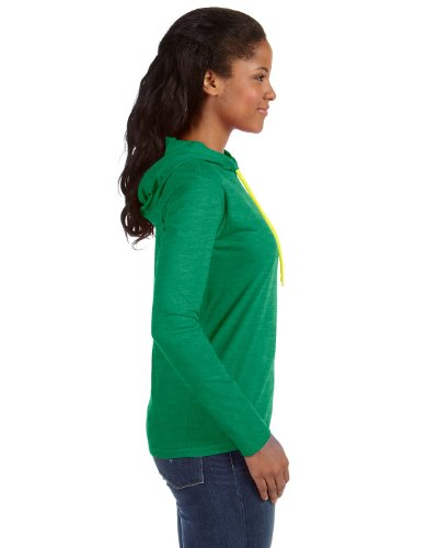 Anvil: Women`s Fashion Basic LS Hooded Tee 887L Heather Green / Neon Yellow