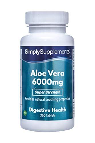 Aloe-vera-gel Tabletten (Aloe Vera 6000mg - 360 Tabletten - Versorgung für bis zu 6 Monaten - wirkt beruhigend auf das Verdauungssystem - Simply Supplements)