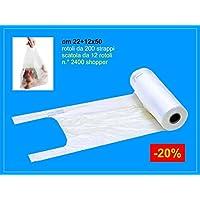 IMBALLAGGI 2000 - Rotolo Sacchetti Ortofrutta di Plastica - 2400 Strappi - Buste Plastica Shopper per Alimenti - 12x50 cm - Confezione da 12 Rotoli