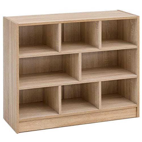 FineBuy Bücherregal FB14532 Sonoma Eiche 80x68,5x29,5 cm Regal Standregal Modern | Flurregal Schuhregal Schmal | Design Dekoregal Holz | Holzregal mit Fächern | Ablageregal Wohnzimmer Abstellraum -