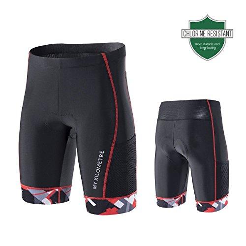 My Kilometer Kilo Triathlon Herren Shorts 22,9cm schwarz   Easy Reach Beintaschen   Chamois für Langstrecken-Tri Race, schwarz/rot, Medium