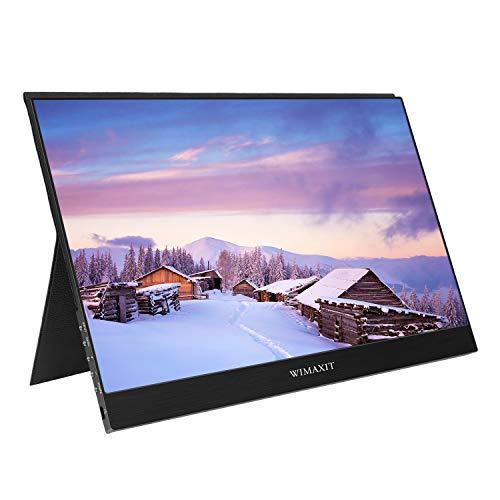 WIMAXIT 13,3 Zoll 1920 x 1080 P IPS HDR tragbarer USB-C-HDMI-Monitor Ultradünner eingebauter Lautsprecher Dual-HDMI-Eingang Gaming-Monitor Typ C-Reisemonitor für Laptops und Mobiltelefone