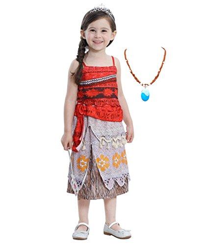 Moana Abenteuer-Outfit,Fanryn Mädchen Kinder Kostüm Moana Prinzessin Kleid Kostüme Set Mit Blaue Anhänger Halskette