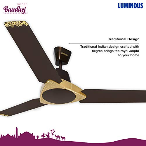 Luminous Jaipur Bandhej 1200mm Ceiling Fan (Shalimar Gold))