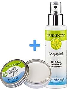 Greendoor intelligente Deo-Kombi zum Vorteilspreis: Body-Splash + Deo Creme, ohne Aluminium, vegan, Top Naturkosmetik aus der Manufaktur