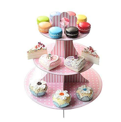 (Hianiquaime 3 Etagen Cupcake Ständer aus Pappe Tortenstaender Muffin Ständer für Hochzeiten Geburtstag Halloween Weihnachten Party Rosa)