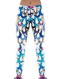 Lovelife' Women Colorful Water Drop Digital Printed Yoga Workout Capri Leggings
