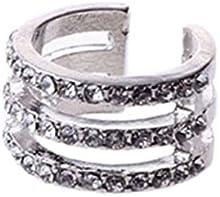 Anillo - SODIAL(R)Moda mujer- Anillo del dedo Anillo de nudillo de multicapa Anillo de dedo de los tobillos Regalo Anillo de mujer (Diamante de imitacion de 3-capa de plata)
