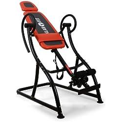 Klarfit Relax Zone Pro Table d'inversion (exercices du dos, cadre de construction en acier stable, 3 positions, rembourrage mousse, coussin inclus, 150kg) - noir & rouge