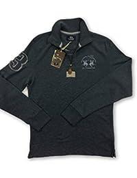 La Martina Denim Blue Melange Long Sleeve Half Zip Cotton top, Size - M, r.r.p £160
