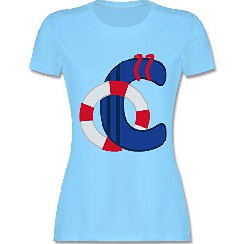 Anfangsbuchstaben - C Schifffahrt - tailliertes Premium T-Shirt mit Rundhalsausschnitt für Damen Hellblau