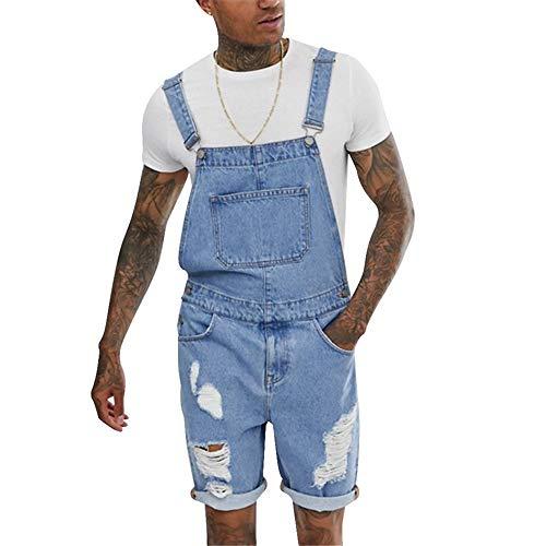 laamei Herren Jungen Latzhose Jeans Overall Denim Lightwash Kurze Latz Shorts (XL, Typ 2 Hellblau)