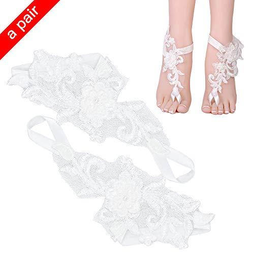 (FEIGO Hochzeit Damen Lace Sandalen Strand Barfuß Fußkette Party Zehenkette für Bräute Brautjungfern Partys Tanz Halloween Cosplay (Weiß))
