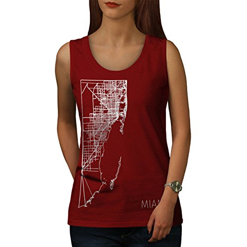 Miami Stadt Karte Mode Groß Stadt Karte Damen Schwarz S2XL Muskelshirt  Wellcoda Rot