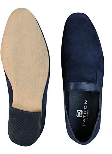 De Marrom E Vermelho Escorregar De Designer Masculinos Camurça Sapatos Em Azul Imitação Couro xAqvO6Bvw