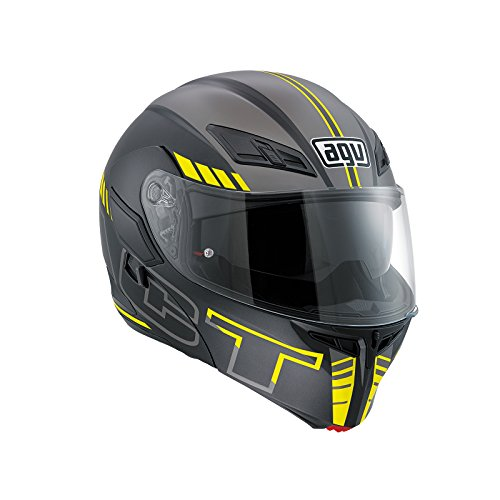 AGV Casco Moto Compact St E2205 Multi PLK, Seattle Matt Black/Silver/Yellow Fl, L