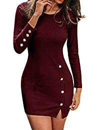 19240a9fcee HARRYSTORE Hippy Fancy Dress Women Solid Color Slim Fit Sexy Button Long  Sleeve Split Casual Sweater