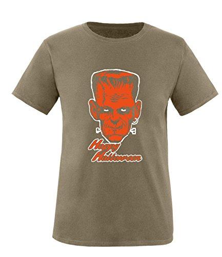 Luckja Happy Halloween Herren T-Shirt Oliv-Weiss/Orange Grösse M
