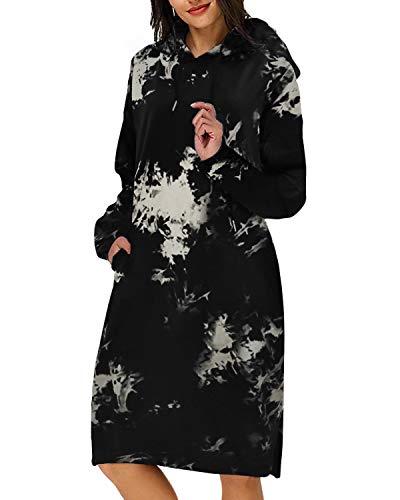 Kidsform Femme Sweat à Capuche Hoodie Tie Dye Robe de Pull Over Imprimé Automne Hiver Outerwear Manche Longue Poche S-XXL Chaud A-Noir Tie Dye L