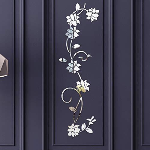 Rokoy adesivo da parete a forma di fiore 3d fai da te, adesivo acrilico fiore, adesivo da parete a specchio, impermeabile, staccabile, decorazione adesiva moderna