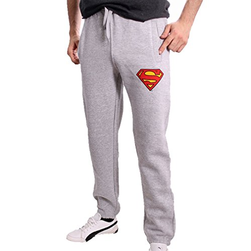 Superman DC Comics Herren Jogginghose - Classic Logo Sweathose Trainingshose Grau (S)