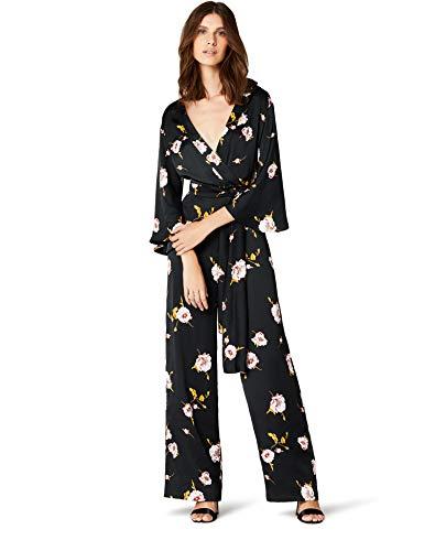 Marchio amazon - truth & fable maxi tuta kimono a fiori donna, nero (black black), 38 (taglia produttore: xx-small)