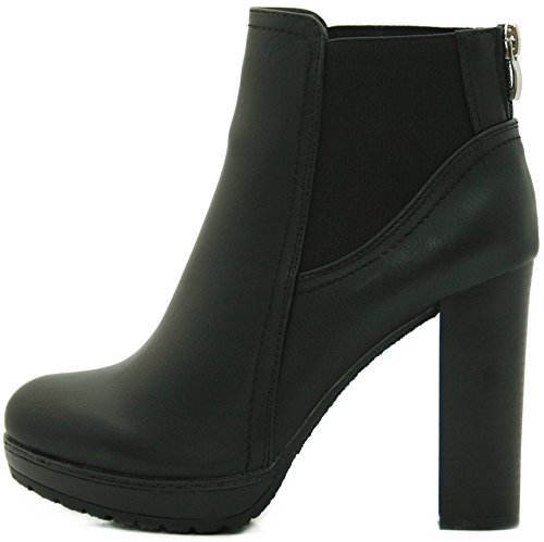 Kayla Shoes Chelsea Boots Plateau Stiefeletten mit Blockabsatz in Holzoptik (41, Schwarz) (Fetisch Boots Ankle)