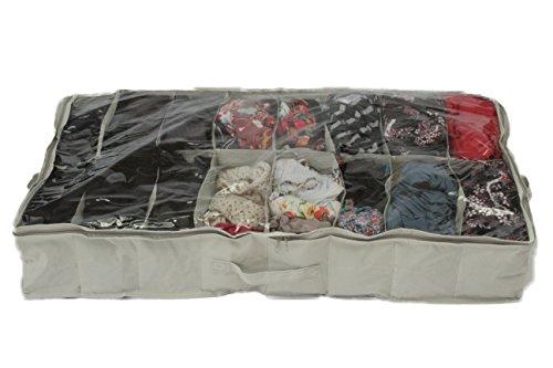 Contenitore portascarpe in tela resistente 15 x 60 x 100 cm per riporre fino a 16 paia sotto al letto por Brilliant Feet colore: Bianco materiale tipo Oxford 600D in PVC trasparente con coperchio