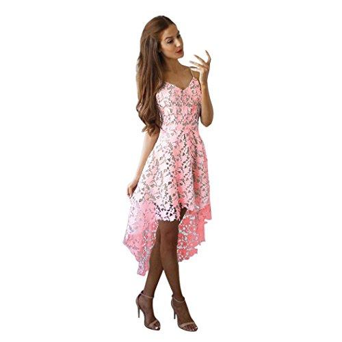 Robe pour femme,Tonwalk Floral Dentelle Sans manches Balançoire Robe Rose