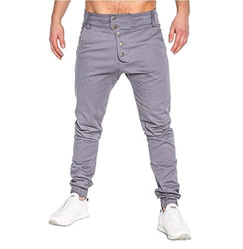 Tomatoa Herren Hosen Mode Sport Pure Color Bandage beiläufige lose Sweatpants Drawstring Pant Stretch Jogger Basic Chino Jeans Hose Casual Sporthosen (Drawstring Leinen Mens)