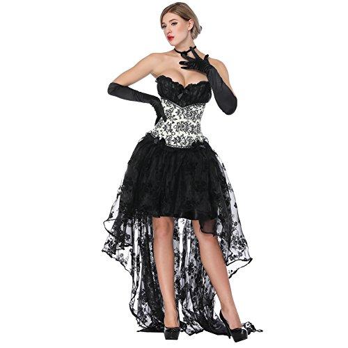 FeelinGirl Damen Korsagekleid Steampunk Gothic Kostüm Magic Mistress Hexenkostüm Teufelchen Halloween Cosplay ()
