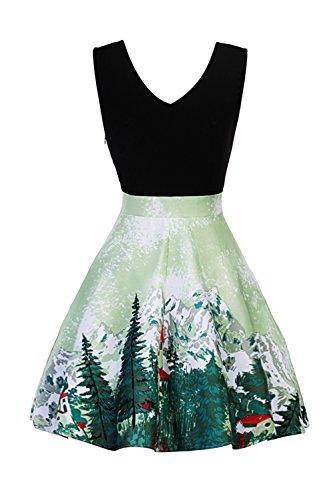 Babyonline® Damen Vintage Sommerkleider Ärmellos Casual Kleid Knielang Elegant Businesse Kleid Skaterkleid Basic Swing A Linie Partykleid Cocktailkleid 1#