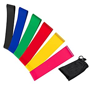 E2Buy NUKSPB1 Resistance Loop Bands, [Full Set of 6 Levels] Set 6 professional-Grade Fitness Bands for Yoga, Pilates, Dance, Strength, Therapy Stretch and Work Out - Carry Bag Included