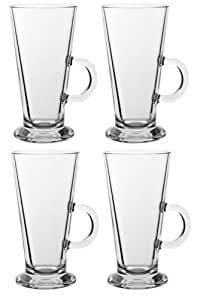 LATTE GLASS TEA COFFEE CUP MUG (Fits Tassimo & Dolce Gusto) Size Large SET of 4 by latte Glass Majestic