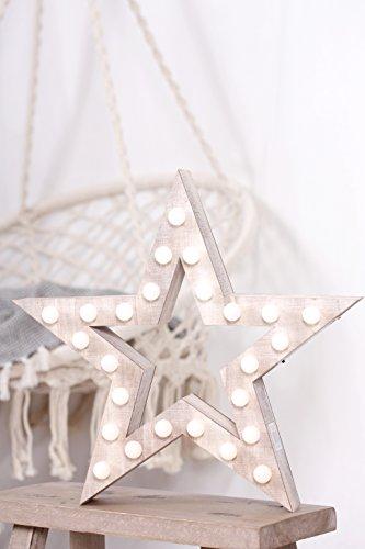 Étoile Objet de décoration avec 25 LED Lampes bois marron 30 x 30 x 6 cm nature Xmas Noël éclairage