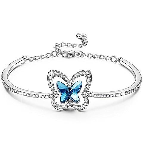 LADY COLOUR Schmetterling Armband Damen mit Kristallen von Swarovski Schmuck muttertagsgeschenke Weihnachtsgeschenke geburtstagsgeschenke valentinstag