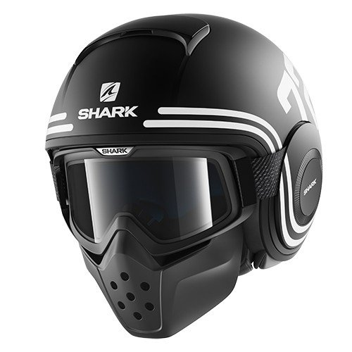 HE3046EKWKM - Shark Raw 72 Mat Open Face Motorcycle Helmet M Matt Black White Orange (KWK)