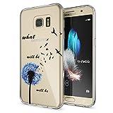 NALIA Handyhülle für Samsung Galaxy S7, Slim Silikon Motiv Case Hülle Crystal Schutzhülle Dünn Durchsichtig, Etui Handy-Tasche Back-Cover Transparent Bumper für Samsung S7, Designs:Dandelion Blau