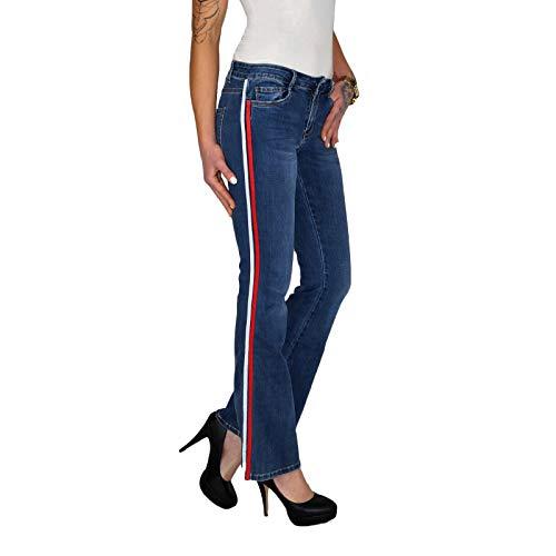 Dresscode-Berlin DB Damen Stretch Bootcut Jeans mit Seitenstreifen und ausgestelltem Bein (L / 40, Blau) Stretch-kick Flare Jeans