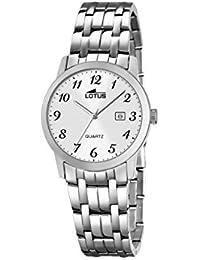 00a63bb0fd6b Lotus Reloj de cuarzo para mujer con blanco esfera analógica pantalla y  pulsera de acero inoxidable