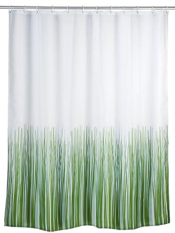WENKO 20060100 Anti-Schimmel Duschvorhang Nature - Anti-Bakteriell, waschbar, mit 12 Duschvorhangringen, 100 % Polyester,