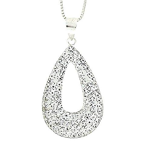 925 Sterling Silver Crystal Open Tear Drop Pendant on 18 Inch Chain